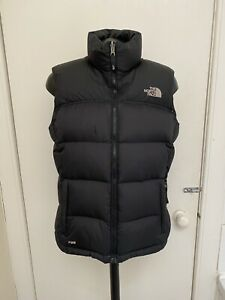 Womens The North Face Black Padded Feather Down Gilet Jacket Size Medium