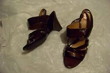 womens sofft brown patent leather strappy wedge heels shoes size 10