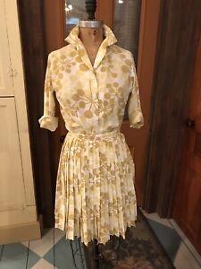 Vtg 60s 2 Piece Shirtwaist Dress Set-Full Pleated Skirt, Blouse