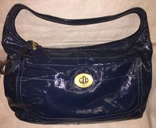 COACH ERGO TURNLOCK  PATENT LEATHER BLUE MARINE HOBO BAG F12887 EUC