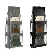 6 Pockets Folding Hanging Handbag Organizer Wardrobe Closet Bag Storage Holder
