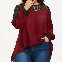 Women Plus Size Long Sleeve Irregular Lace O Neck Patchwork Loose Blouse Tops