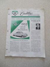 1953 Cadillac Preliminary Service information Cadillac Serviceman Bulletin