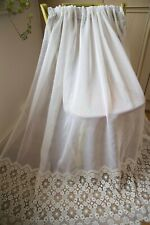 WHITE SINGLE VOILE CURTAIN,72WX52D,SLOT TOP,FRENCH,SHEER,EMBROIDERED LACE,1OF3