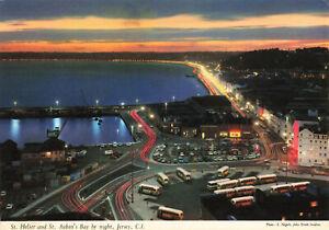 St. Helier & St. Aubin's Bay by Night, Jersey, C.I. Postcard 1970s-1980s.