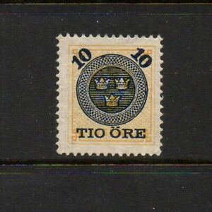 SWEDEN 1889 10 ORE OVERPRINT ON 24 ORE - SG O40 - UNMOUNTED MINT
