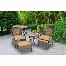 Patio Furniture Set 5 PC Outdoor Wicker Rattan Table Garden Deck Chairs Ottomans