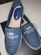 COACH RHODA DENIM MEDIUM WASH ESPADRILLE SLIP-ON. Size 7M. Retail Price:$130