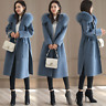 Womens Cashmere Wool Hooded Fur Collar Coats Winter Long Jackets Overcoat Trench