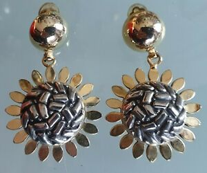 Earrings Clips Vintage 1980s Style Couture Pending The Sunflowers