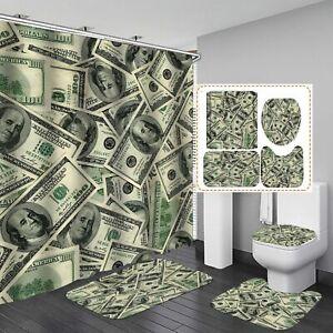 3D Hundred Dollar Bill Money Shower Curtain Toilet Lid Cover Bathroom Rugs Mat