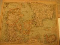 Antike Landkarte Dänemark und Südschweden mit Bericht von 1899-Antique map