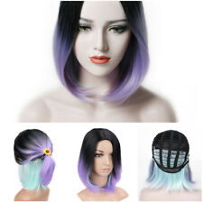 Straight Short Heat Resistant Synthetic Bob Black To Purple Blue Cute Wig