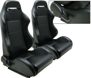 NEW 2 BLACK PVC LEATHER RACING SEATS RECLINABLE W/ SLIDER FOR CHEVROLET *