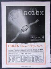 Raro foglio pubblicitario 1939 orologio ROLEX OYSTER PERPETUAL nuovo calibro