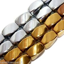 MAGNETIC HEMATITE BEADS SILVER PLATED 4X7MM TWIST BEAD STRANDS H18