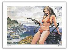 Affiche Milo MANARA Pin Up Bikini 200 ex signé 28,5x38 cm