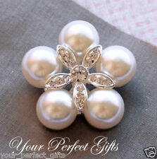3 pcs Round 40mm Rhinestone Crystal Pearl Buckle Button