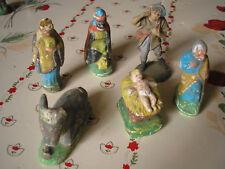 Lot de 6 très vieux santons en plâtre pour votre crèche
