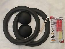 "10"" Universal Speaker Repair Kit 2 Speaker Foam Surround Dust Caps Epoxy Swab .."