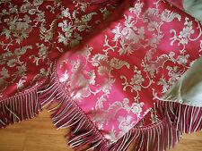 Antique  French Floral Scroll Raspberry Silk Fabric Lg. Chateau Pelmet Curtain ~