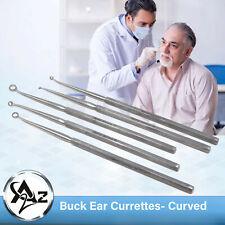 Set Of 5 Buck Ear Curettes Blunt Curved Ent Surgical Instruments