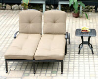 Outdoor chaise lounge with wheels patio end tabel cast alumnum furniture Bronze