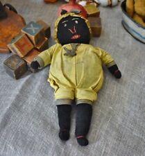 Antique Handmade Stockinette Black Doll