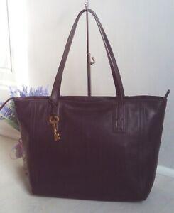 Fossil Emma Black Leather Shopper Tote Shoulder Bag Key Fits Laptop Work Uni