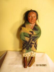 "8""antique Skookum  doll composition head wool blanket"