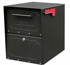 Locked Mailbox Locking Curbside Residential Black Post Mount Parcel Packages Box