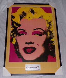 """Andy Warhol Signed Framed 28x41"""" Marilyn Monroe Poster Display"""