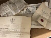 Lot de 4 Certificat de Reliquaire Ancien Relique Reliquary Vatican Napoléon III