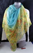 Square Chiffon Scarf Blue and Yellow Floral Story of Shanghai Sheer Shawl Wrap