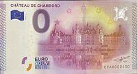 BILLET 0  EURO CHATEAU DE CHAMBORD N° 1  FRANCE  2015  NUMERO 100