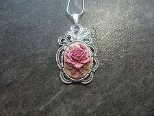 "Necklace 20"" Chain Hand Painted Scroll Setting Pink Rose Cameo"
