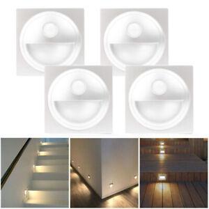 4 x LED Wandeinbaustrahler Wandleuchte Treppen Stufenlicht mit Bewegungsmelder