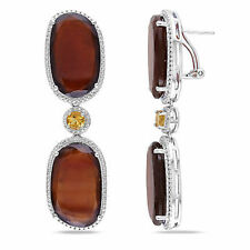 Amour Sterling Silver 68 3/4 Ct TGW Garnet and Citrine Dangle Earrings