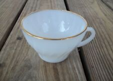 Vintage Fire King White Swirl Milk Glass Cup Gold Trim Coffee Anchor Hocking