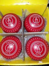 SET RED TAYLOR ACE SIZE 2 BOWLS+EMSMORN LARGE BOWLS BAG+CLUBHAWK GOLD MEASURE