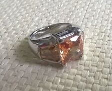 vintage large glass stoned dress ring size R / S costume