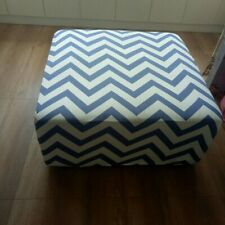 Spendex Stretch Ottoman Cover Sofa Footstool Slipcover Blue Stripes 90*90cm