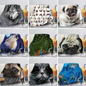 Animal Blanket Cute All Season Lightweight Cooling Coral Fleece Sofa Couch Thick