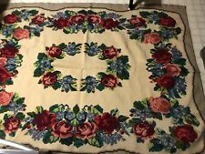 Vintage Woven Rug French Red Rose Floral Victorian Flatweave Area Rug 5'