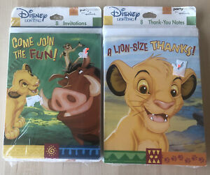 Disney The Lion King Birthday Party Invitations And Thank You's 8 Each New