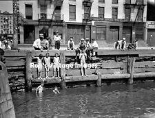 1900 New York City photo Ghetto Kids swimming  East River Old Vintage Manhattan