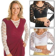 Lace Camisole Long Sleeve Under Tank Top Black or White M, L, XL, XXL FREE SHIPP