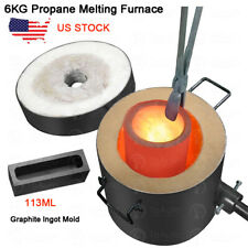 6KG Gas Propane Melting Furnace Refining Forge Copper Gold Silver Aluminum USA