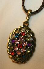 Handsome Brasstone Rope Swirl Colorful Rhinestone Cluster Oval Pendant Necklace