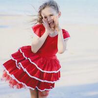 Baby Girls Kids Tutu Dress Red Cake Dress Princess Wedding Birthday Party Dress